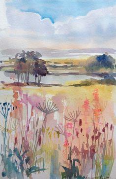 Original Water Colour Painting - Simple Landscape - Signed Annabel Burton .