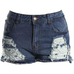 Boohoo Plus Plus Felicity Ripped Denim Shorts ($40) ❤ liked on Polyvore featuring shorts, bottoms, short shorts, boyfriend shorts, hot pants, destroyed jean shorts and short jean shorts