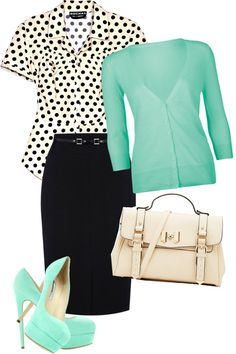 Work fashion, black & white polka dots w/ mint green sweater & shoes. Conservative enough for work, but upbeat outfit. Komplette Outfits, Modest Outfits, Style Work, Style Me, Work Fashion, Modest Fashion, Fashion Black, Work Wardrobe, Teacher Wardrobe