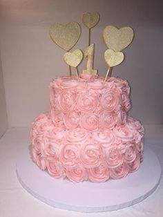 Pink rosette 2 tier 1st birthday cake w/ gold accents