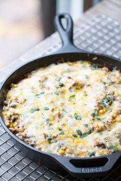 Easy Beef Tex Mex Skillet Casserole is my new favorite dinner! Cheesy, beefy and full of flavor. | This Gal Cooks