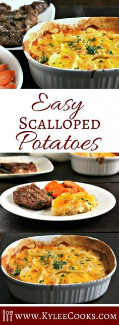 Scalloped potatoes are a great side dish to any meal! Potatoes are sliced thin, layered with onion, flour, seasonings and butter, and finished with cheese. Scalloped Potatoes Easy, Scalloped Potato Recipes, Vegetable Recipes, Vegetarian Recipes, Cooking Recipes, Cooking Ideas, Yummy Recipes, Dinner Recipes, Potato Side Dishes