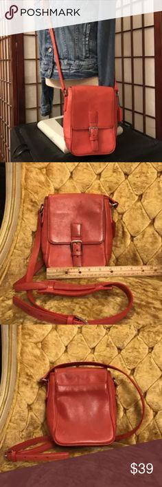 Vintage Coach Tomato Red crossbody purse leather Has some spots and some wear, faded, see photos inside is clean Coach Bags Crossbody Bags