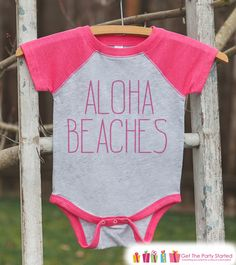 Aloha Beaches Onepiece or Raglan - Summer Outfit For Kids - Girls Pink Baseball Tee or Onepiece - Fun Summer Outfit for Baby, Youth, Toddler