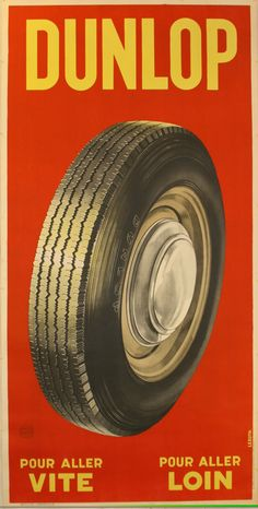 Dunlop Tyres, 1950s - original vintage poster by Leruth listed on AntikBar.co.uk