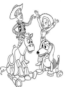 Woody Riding Dog Toy Story 2 Coloring Page Coloring 4 Kids Disney