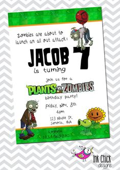Plants vs. Zombies Birthday Invitation - Printable