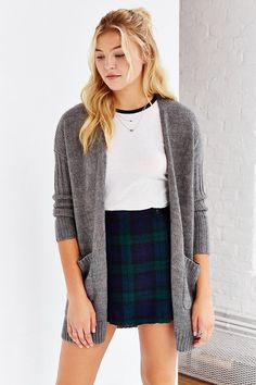 Ribbed-Sleeve Open-Front Cardigan on ShopStyle!