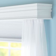 Conceal a curtain rod inside this decorative wooden cornice for window treatments with a formal touch.