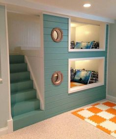 Bunk room with port holes. After the kids out grow the bunk beds, they could be turned into storage by attaching shutter doors