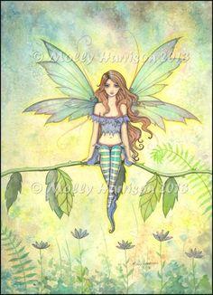 "Green winged fairy sitting on a branch…""Green Garden"" © Molly Harrison 2013"