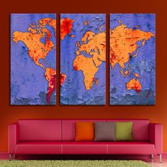 Custom vintage world map canvas art canvases vintage and house 3 panel triptych world map canvas print with digital flake effect blue red and orange colors art for wall decor interior design gumiabroncs Gallery