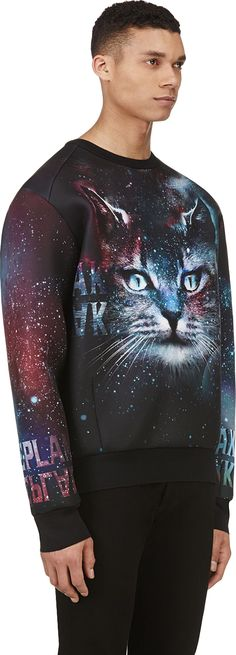 Juun.J: SSENSE Exclusive Black & Teal Cosmic Cat Sweatshirt | SSENSE
