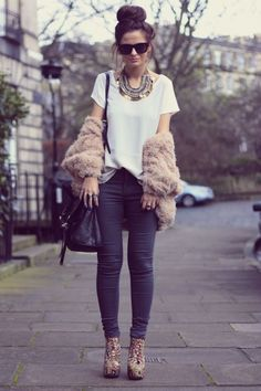Statement necklace + oversized tee + fur shawl + skinny jeans + top knot