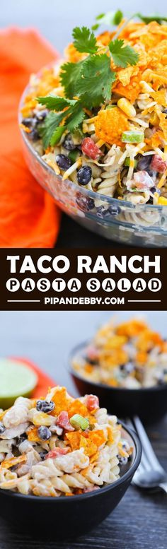 Taco Ranch Pasta Salad This is a great salad for parties! A huge hit for all ages. - Taco Ranch Pasta Salad made with Hidden Valley Ranch Pasta Recipes, Dinner Recipes, Cooking Recipes, Healthy Recipes, Recipe Pasta, Low Salt Recipes, Potato Recipes, Vegetable Recipes, Drink Recipes