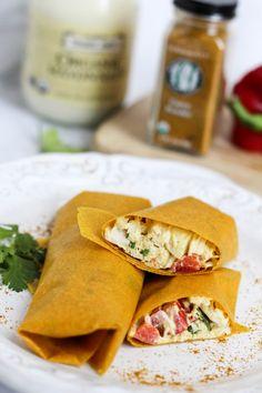 Easy, Healthy, Curry Chicken Salad Tumeric Wraps | fitnessista.com