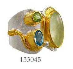 Peridot, Blue Topaz and Prehnite ring  - Eucalyptus Island Collection