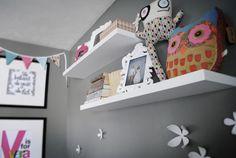 Floating white shelves