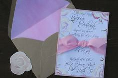 Handpainted Birthday Invitation. Handmade Wedding Invitations. Watercolor Wedding Invitation. Pink Gold Party Invitation..JPG