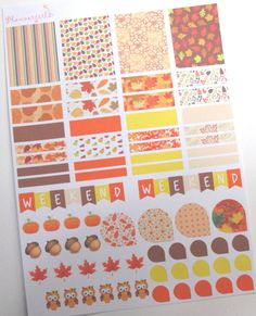 72 Fall/Autumn MATTE Stickers Sheet Kit for Erin by Plannergirls