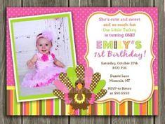 Trendy Ideas Birthday Invitations Card In Marathi Thanksgiving Birthday Parties, 1st Birthday Party For Girls, Girl Birthday Themes, First Birthday Photos, Pink Birthday, Birthday Ideas, Invitation App, Photo Birthday Invitations, Pink Invitations