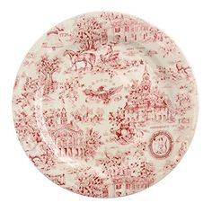 """Toile Red Dinner Plate 1776 10"""" Round FIS http://www.amazon.com/dp/B00YBY2E3W/ref=cm_sw_r_pi_dp_XgzEvb15VS499"""
