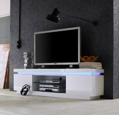 Avanti ii gloss tv stand with rgb lights - tv stands - sena home furniture Entertainment Center Kitchen, Entertainment Room, Deck Plans, Diy Tv, Healthy Living Magazine, Mounted Tv, Tv Cabinets, Retirement Planning, Led