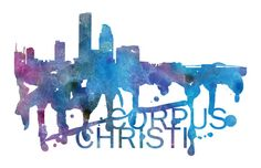 Corpus Christi Art, Corpus Christi Skyline, Corpus Christi map, Corpus Christi wall art, Corpus Christi map print  A beautiful Watercolor Art