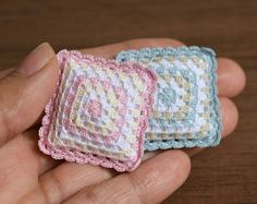 Miniature crochet pillow in granny square style, Dollhouse miniature cushion in 1:12 scale