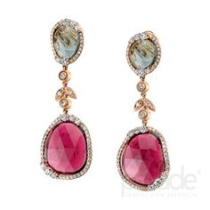 from Parade Design Scintillating slices of vibrant pink and pale green tourmaline are accented by more than 1.5 carats of sparkling diamonds.