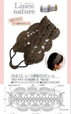 Banda para el cabello a ganchillo con gráfico