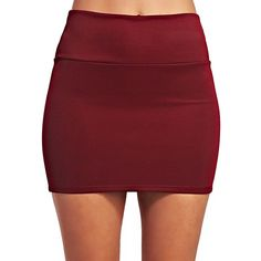 Solid Scuba Mini Skirt ($5) ❤ liked on Polyvore featuring skirts, mini skirts, stretchy skirt, stretchy mini skirts, pull on skirts, red stretch skirt and wet seal