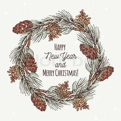 Christmas greeting card with hand drawn christmas wreath and pine ...