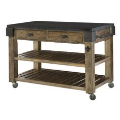 Features:  -Rustic brown finish.  -Granite top has a food safe wax coating.  -2 Drawers included.  -Towel rack and bottle opener on right side.  -2 Hooks on left side.  -Locking casters.  Distressed: