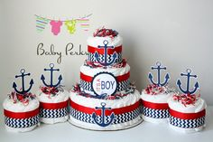 Nautical Diaper Cake, Nautical Baby Shower , Sailboat Theme, Baby Shower Decorations, Nautical Mini Diaper cakes by MsPerks on Etsy Baby Shower Cakes For Boys, Baby Shower Diapers, Baby Shower Parties, Baby Shower Themes, Baby Boy Shower, Baby Shower Gifts, Shower Ideas, Nautical Diaper Cakes, Mini Diaper Cakes