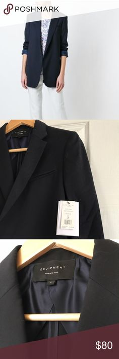 Equipment Black Wool Kadley Blazer NWT Size 2 Beautiful Equipment blazer. Color ink (black). Kadley Blazer. Size 2. NWT. Made in Italy. Dry clean. Perfect for that oversized/boyfriend, effortless, French look. You'll be the most stylish woman in the restaurant! Sad to see it go 😭 but I need $$$ & it's too late to return it! Never worn! When my tailor saw it she went and bought one too (never actually had it tailored). Now, THAT'S how you know something is well made! Shoulder to shoulder ~15…