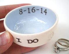 CUSTOM LIGHT BLUE wedding ring pillow ring dish, something blue, wedding ring holder, floating candle holder, wedding table decoration, date on Etsy, $22.00
