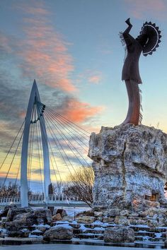 keeper of the plains, wichita, wichita kansas, wichita ks, arkansas river, river,rivers, sunrise, sunset, ict,wichita skyline, native american, history indian, winter,winter in kansas,arkansas river, pink,blue,blue,pinks,bridge,bridges,native american,native americans,cold,ice,snow,snowy,