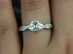 Tressa 14kt White Gold Cushion FB Moissanite and Diamond Twist Engagement Ring (Other Metals and Stone Options Available)