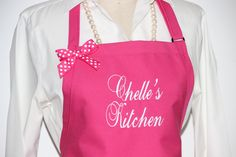 Chelle's Kitchen Apron - Personalized Aprons - Mommy Gift Apron -Fuchsia Aprons- Monogram Aprons - Elegant Aprons . by Wheelering on Etsy