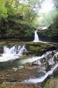 The attrative lower cascades of Sgwd Isaf Clun-Gwyn, near Ystradfellte / Fforest Fawr / Brecon Beacons National Park, Powys County, Wales