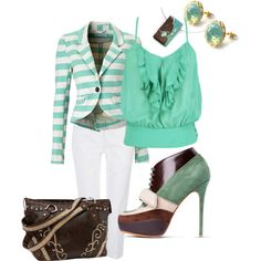 """Mint and White striped blazer"""