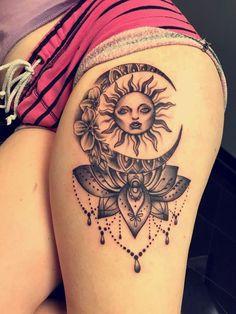 moon and sun tattoo ideas Sun Tattoos, Body Art Tattoos, Dream Catcher, Thighs, Fashion Beauty, Men And Women, Tattoo Thigh, Ideas, Dream Catchers