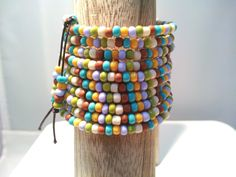 Memory Wire Wrap Bracelet Wide Turquoise by FloranceandMatildas