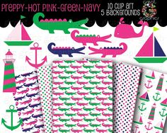 Hot Pink, Green, Navy Printable Preppy Backgrounds and Digital Clip Art