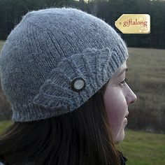 Who says you can't have a little vintage glamour on a frosty day? This hat has a lacy side fan knit right into the ribbing. Add a special button and pair with my Sea Smoke Scarf  to face winter with style.