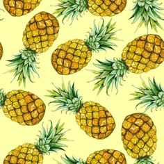 Party Pineapples Fabric - Watercolor Pineapples By Svetlana Prikhnenko - Watercolor Summer Fruit Cotton Fabric By The Metre With Spoonflower Double Gauze Fabric, Cotton Twill Fabric, Cotton Canvas, Pineapple Fabric, Wallpaper Iphone Cute, Summer Fruit, Wall Patterns, Yellow Background, Custom Fabric