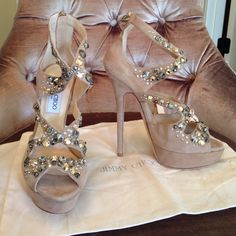 Jimmy Choo zafira suede crystal nude platforms Never used but not perfect. They come only with the dust bag. Negotiation only occurs through the offer button, prices will not be discussed in the listing, but please ask questions before purchasing.  Jimmy Choo Shoes