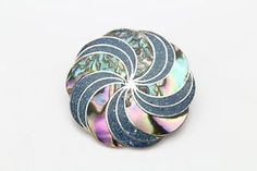 Vibrant Abalone shell Taxco Pinwheel brooch. Vintage, Taxco sterling silver and abalone gemstone inlay. Signed.  #vintage #Taxco #abalone #sterlingsilver #brooch #beautiful #candycane #December #jewelry
