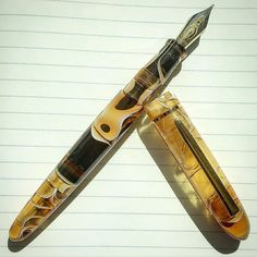 @edisonpen Menlo in Translucent Amber Swirl. Gorgeous. #fountainpen #fpgeeks